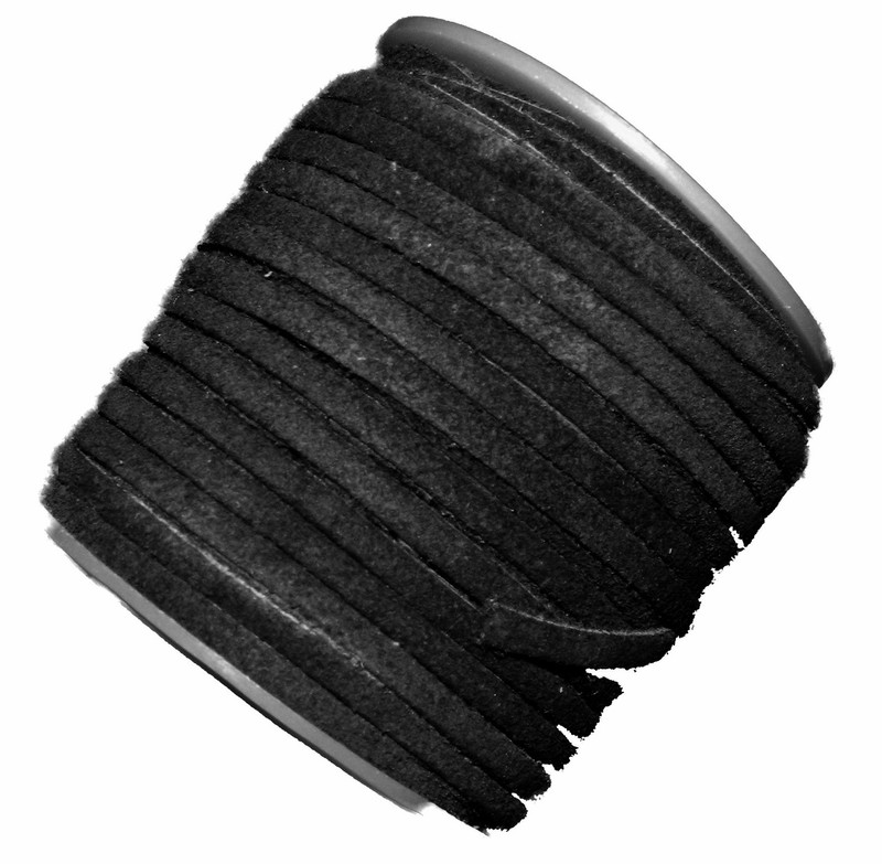 Black 4mm Flat Suede Lace Leather Cord 25 Yard Spool 4x1.5mm