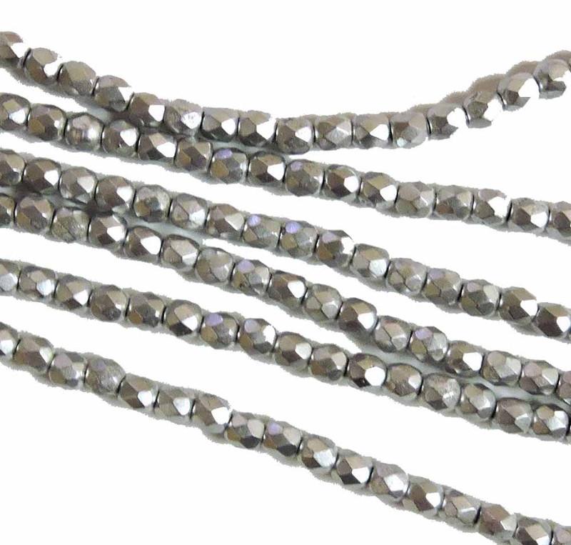 Bronze Aluminum 3mm Faceted Firepolish Czech Glass 48 beads 6-FPR0300030-01700