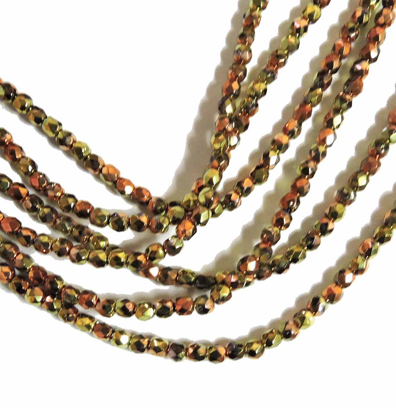 Crystal California Gold 3mm Faceted Firepolish Czech Glass 48 beads 6-FPR0300030-98542