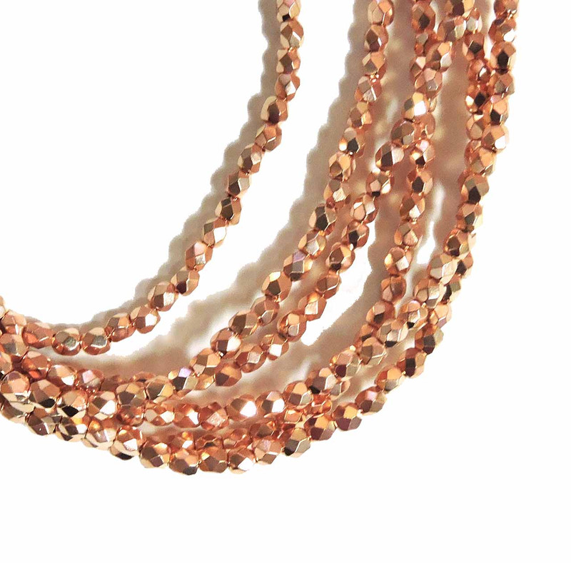 Copper Plate 3mm Faceted Firepolish Czech Glass 48 beads 6-FPR0300030-CP
