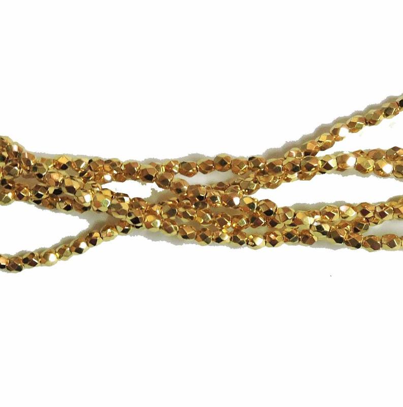 24K Gold Plate 3mm Faceted Firepolish Czech Glass 48 beads 6-FPR0300030-GP