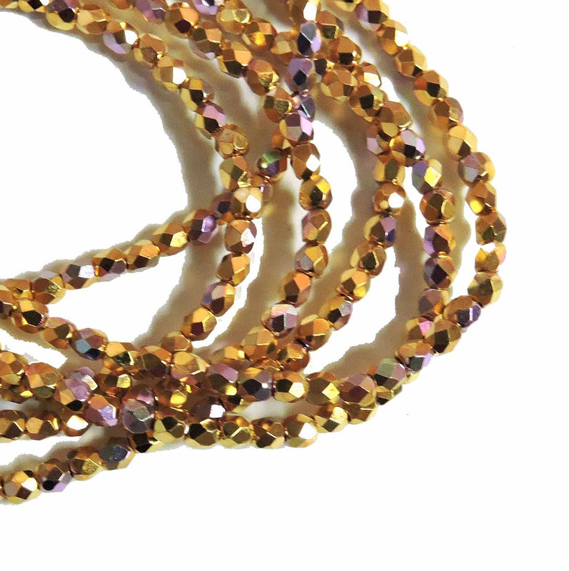 24k Gold Plated AB 3mm Faceted Firepolish Czech Glass 48 beads 6-FPR0300030-GPAB