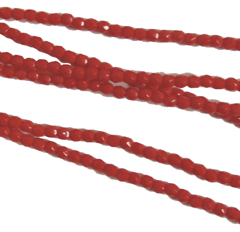 Coral 3mm Faceted Firepolish Czech Glass 48 beads