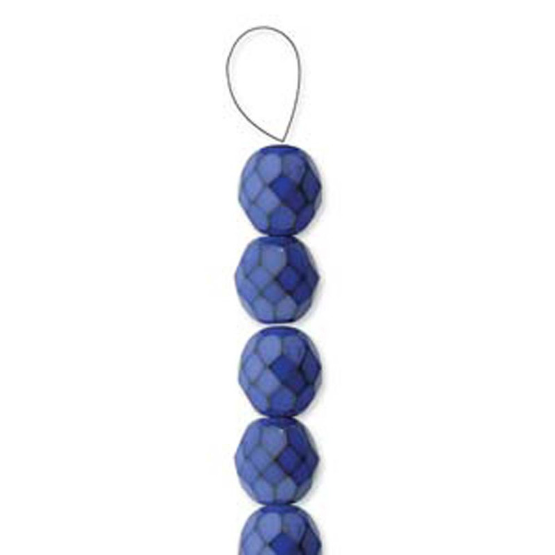 """Cobalt Snake 15 Czech 10mm Faceted Round Firepolished Glass Beads 6"""" 6-FPR1039067"""