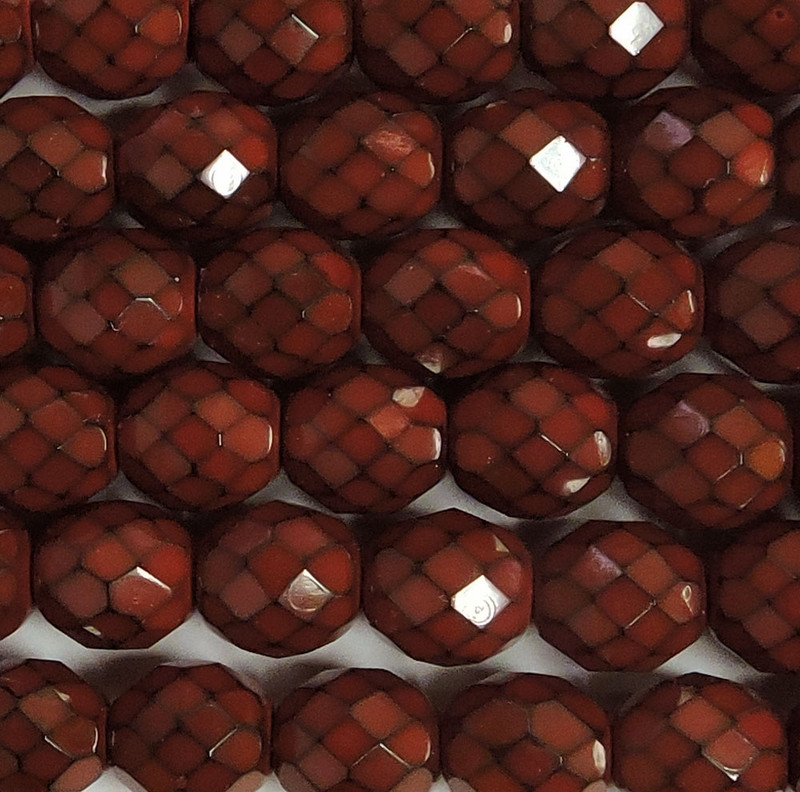 """Dk Coral Snake 15 Czech 10mm Faceted Round Firepolished Glass Beads 6"""""""