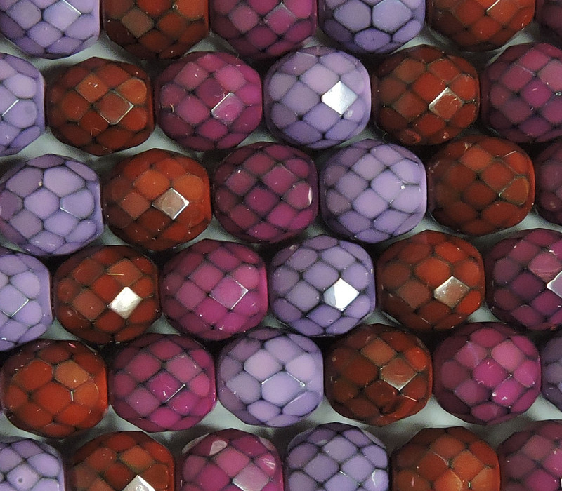 """Berry Snake Mix 15 Czech 10mm Faceted Round Firepolished Glass Beads 6"""""""