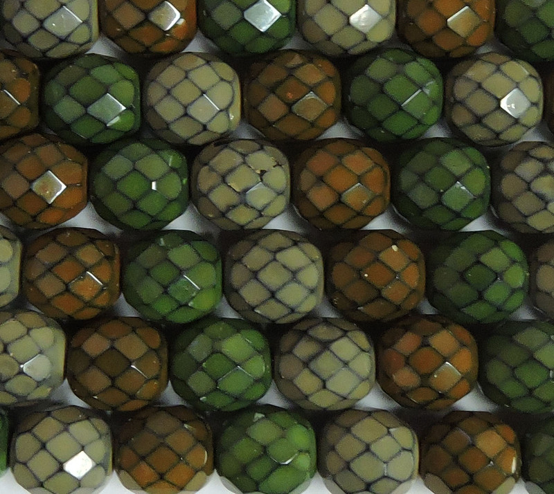 """Earthy Snake Mix 15 Czech 10mm Faceted Round Firepolished Glass Beads 6"""""""
