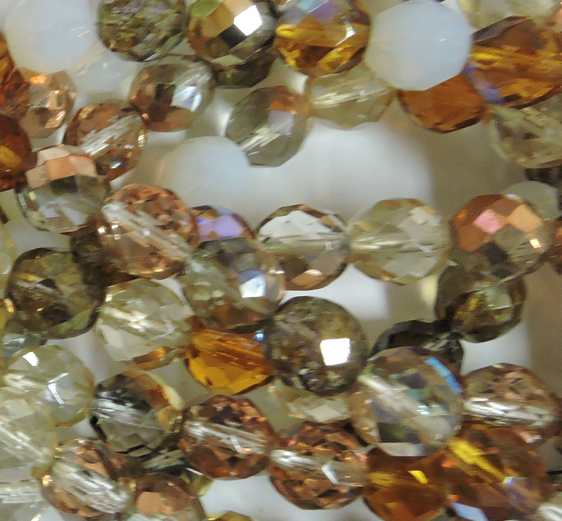 Honey Mix 48 Czech 10mm Faceted Round Firepolished Glass Beads