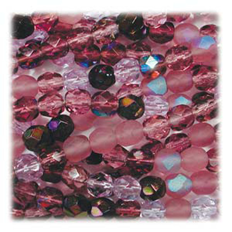 Lilac Mix 48 Czech 10mm Faceted Round Firepolished Glass Beads