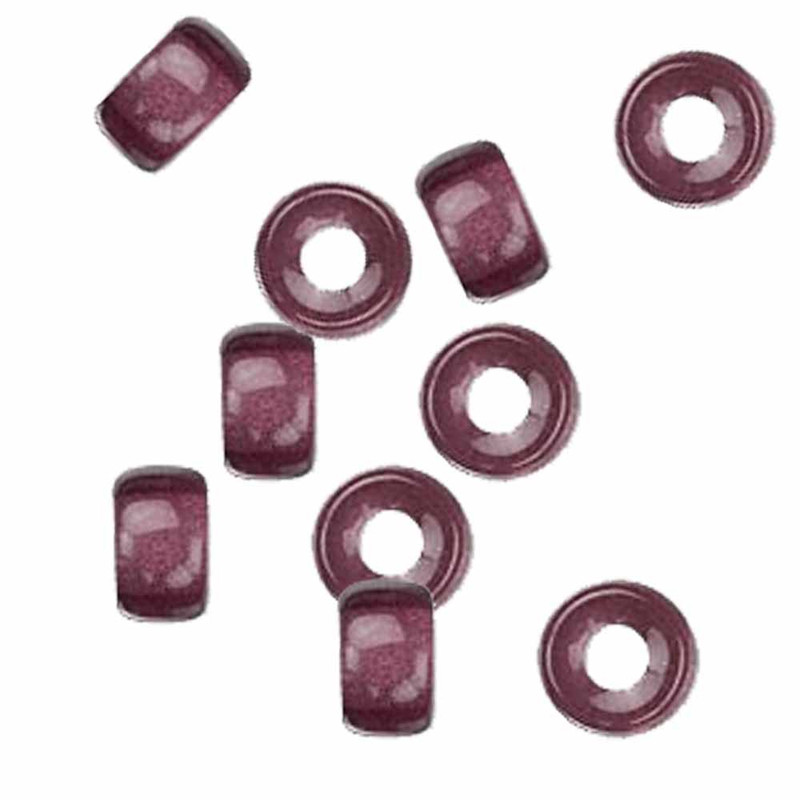 Amethyst 10pc Czech Glass Macrame & Leather Crow Beads 9x4mm 3mm Hole H20-4213MD