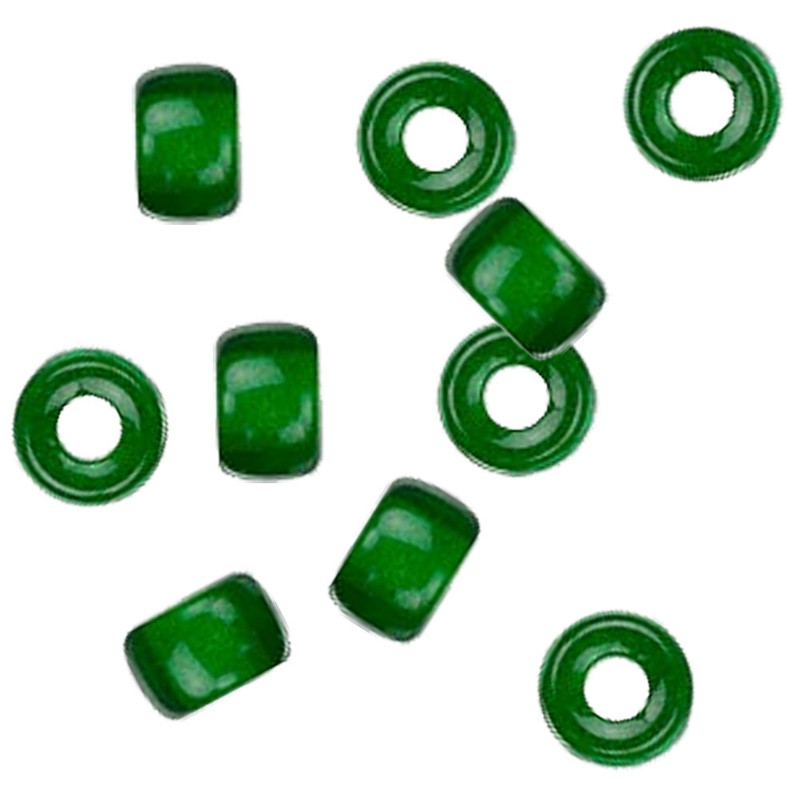 Green 10pc Czech Glass Macrame & Leather Crow Beads 9x4mm 3mm Hole H20-4214MD