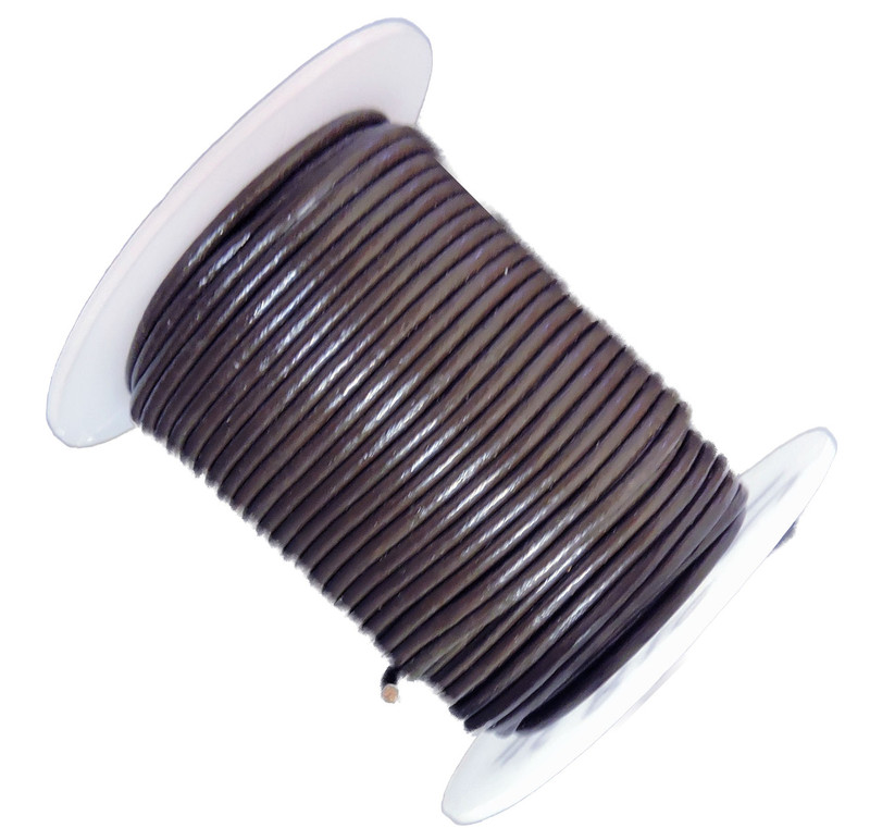 Chocolate Brown 1.5mm Buffalo Leather Round Cord 25 Yards