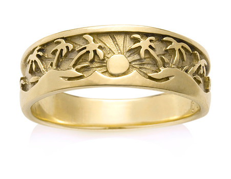 Tropical Palm Tree Sun Ring Gold Platinum In Tropical