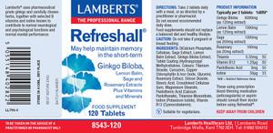 Refreshall (Ginkgo, Lemon Balm, Sage & Rosemary) 120 Tablets