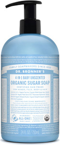 Dr Bronner's 4-In-1 Baby Unscented Organic Sugar Soap 709ml