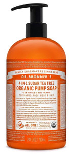 Dr Bronner's 4-In-1 Sugar Tea Tree Organic Pump Soap 709ml