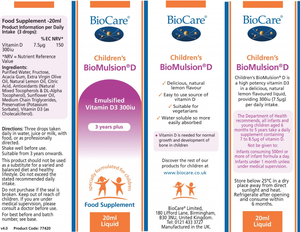 BioCare Children's BioMulsion D (Liquid Vitamin D) 20ml