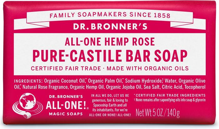 Dr Bronner's All-One Hemp Rose Pure-Castile Soap 140g
