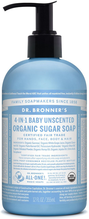 Dr Bronner's 4-In-1 Baby Unscented Organic Sugar Soap 356ml