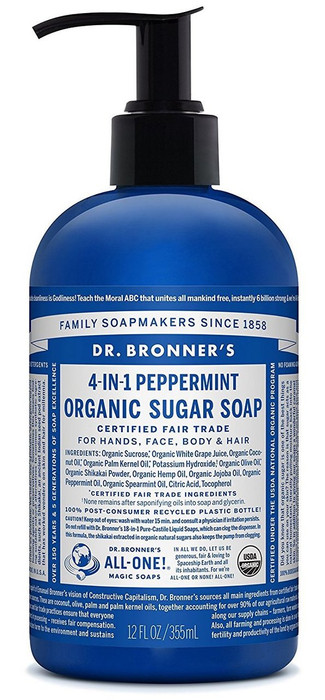 Dr Bronner's 4-In-1 Sugar Peppermint Organic Pump Soap 356ml