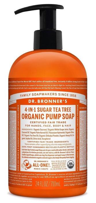 Dr Bronner's 4-In-1 Sugar Tea Tree Organic Pump Soap 709ml