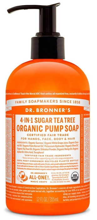 Dr Bronner's 4-In-1 Sugar Tea Tree Organic Pump Soap 356ml