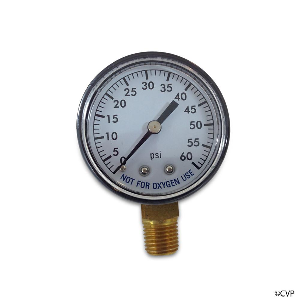 "SUPER PRO | GAUGE PRESS 2"" 0-60# 1/4""BTM | 81060BU PLASTIC"