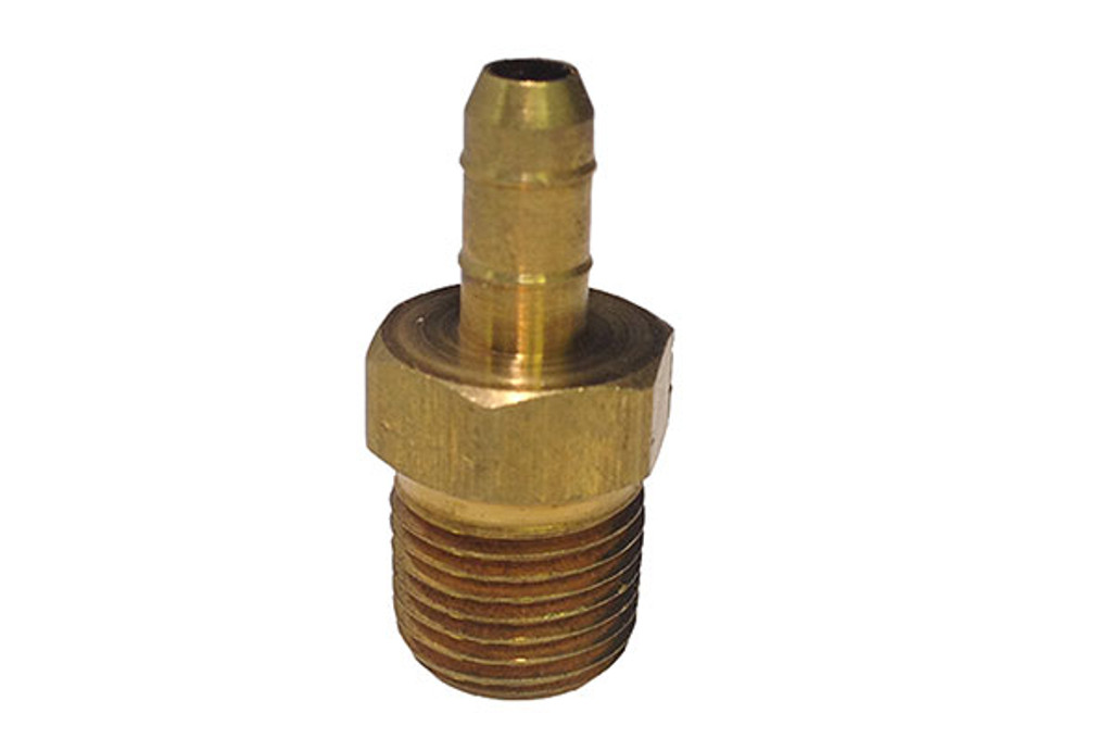 "HEATER FITTING | .17 BARB X 1/8"" MALE PIPE THREAD BRASS 