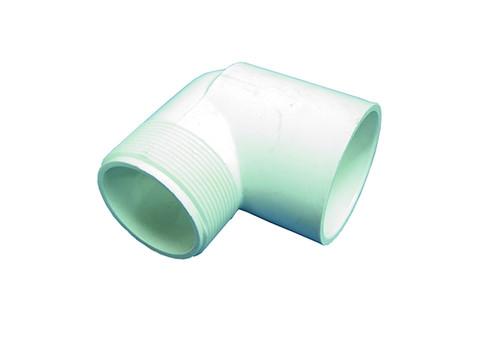 """Dura Plastics   PVC FITTING   90 ELBOW 1-1/2"""" MPT X 1-1/2"""" SLIP   410-015"""