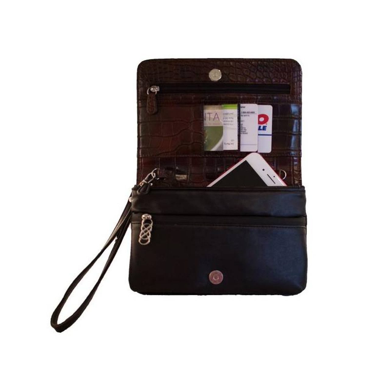 """Erbanna Smell Proof Bag with both Crossbody and Wristlet Strap - KAM - 7.5"""" x 5"""" x 1.5"""" - Colors"""