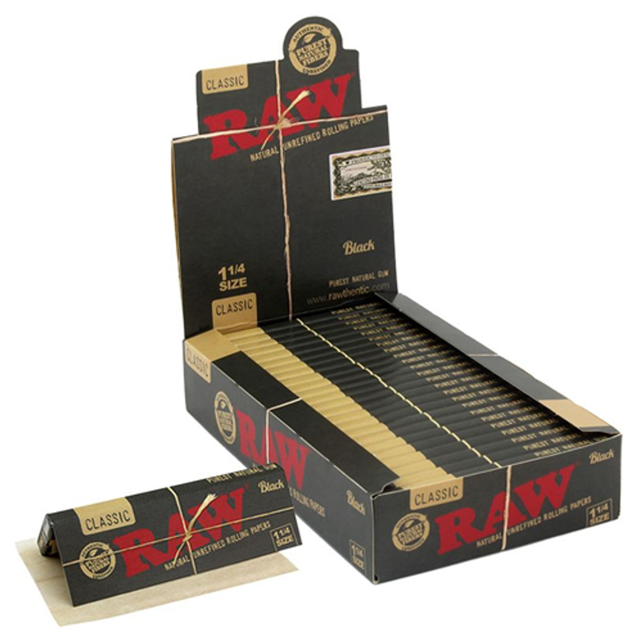 Raw Classic Black Rolling Papers 1 1/4 (Display of 24)