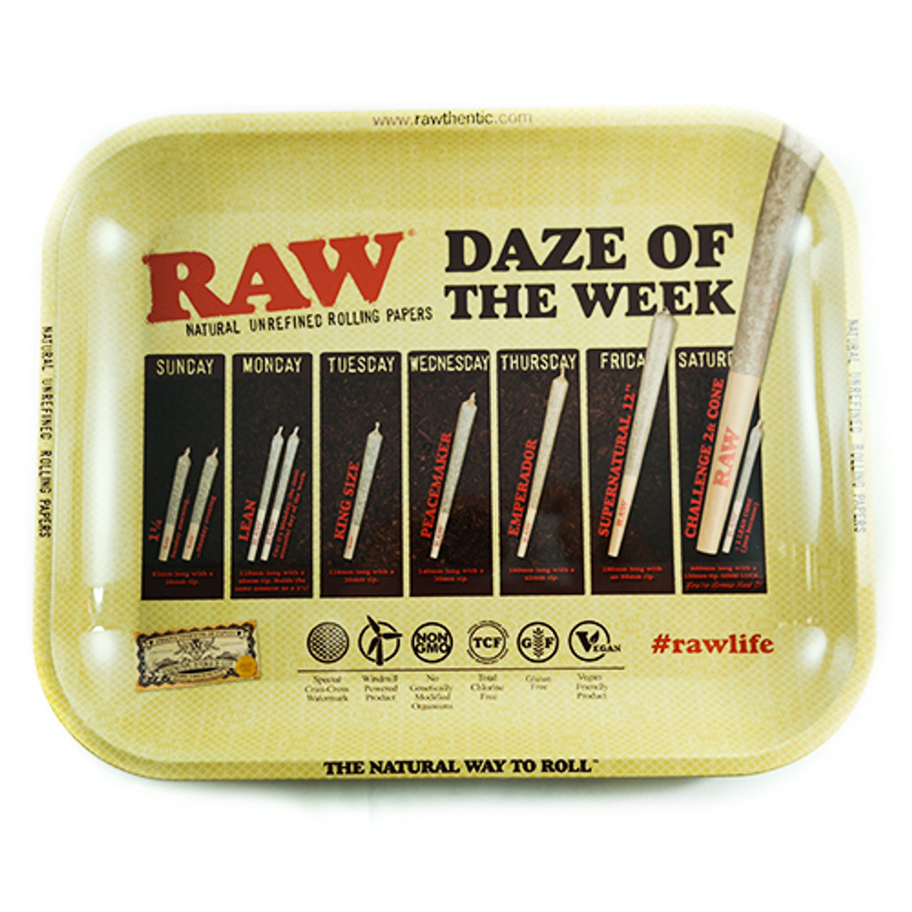 """Raw Rolling Tray - Daze of the Week - Large 10.75"""" x 13.25"""""""