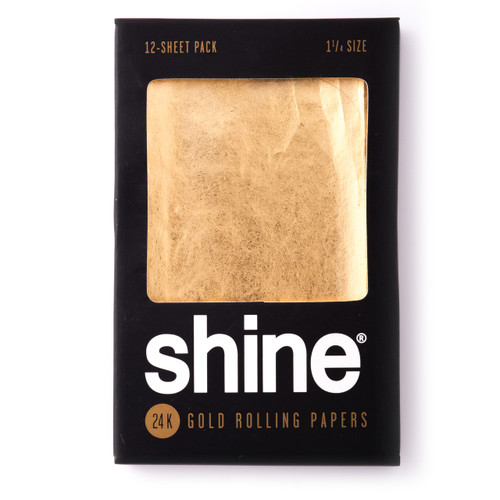 """Shine 24K Gold Rolling Papers - 1 1/4"""" Size 12-Sheet Pack"""