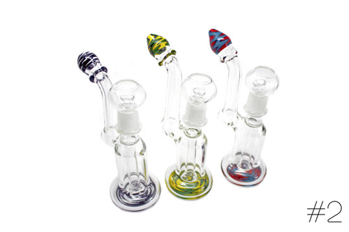 Imported Glass Medium Clear Oil Bubbler w/Panel