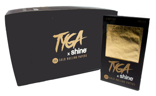 Shine Tyga 24k Gold Rolling Papers - King Size 6-Sheet Box (24pc Display)
