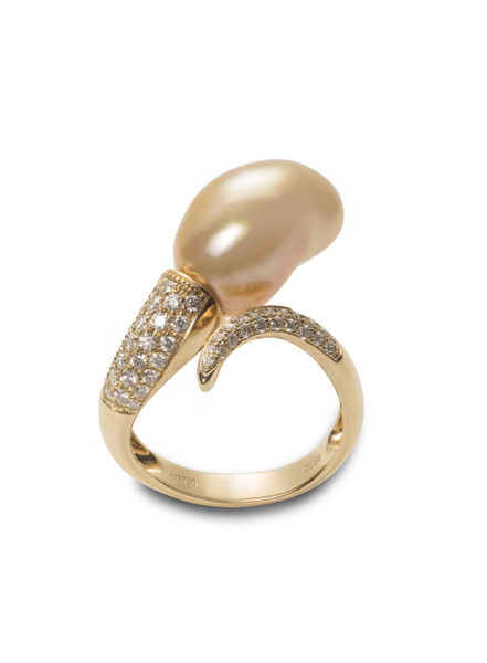 18K Golden South Sea Keshi Pearl And Diamond Ring