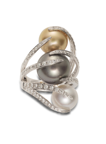 18K Triple Cultured Pearl And Diamond Ring
