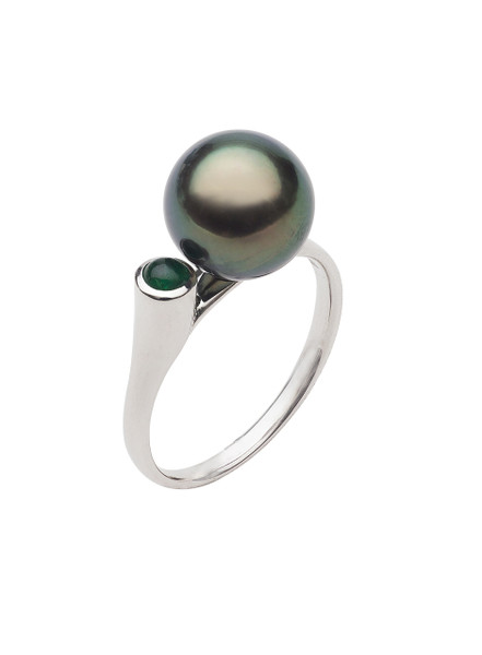 14K 10-11mm Tahitian Cultured Pearl And Emerald Ring