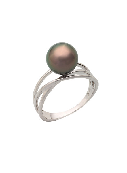 14K Tahitian Cultured Pearl Triple Band Ring