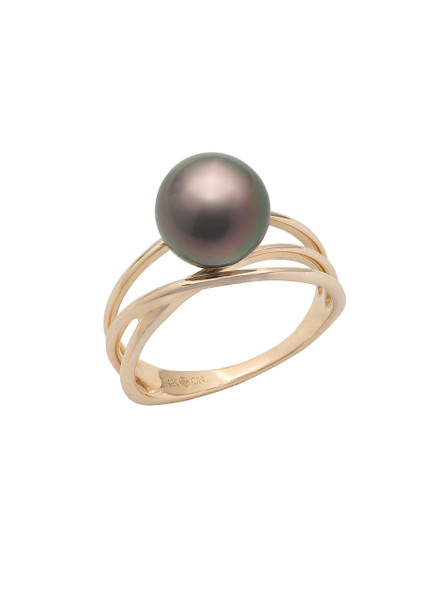 14KYG Tahitian Cultured Pearl Triple Band Ring