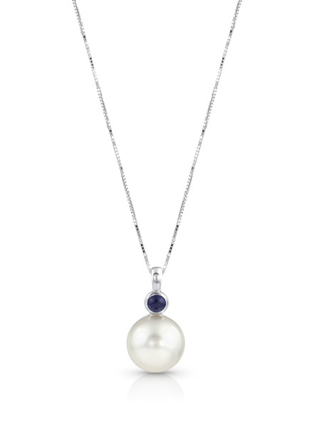 14K Cultured Pearl And Blue Sapphire Pendant