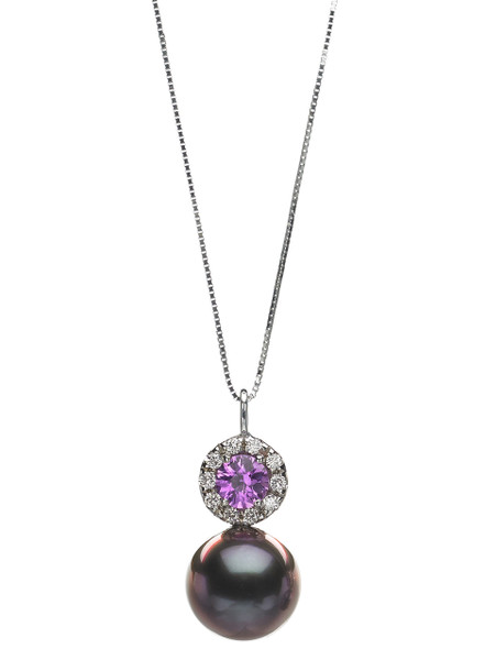 14K Tahitian Cultured Pearl Halo Pendant With Diamond And Purple Sapphire