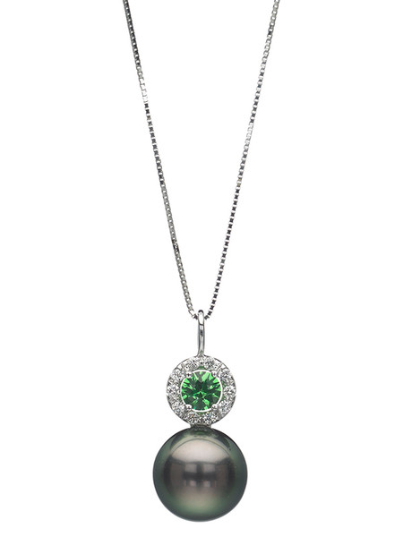 18K Tahitian Cultured Pearl Pendant With Diamond And Tsavorite Garnet Accents