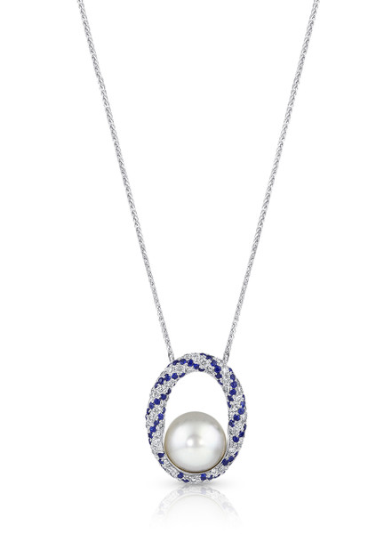18K South Sea Cultured Pearl 'Twist' Pendant With Diamonds And Blue Sapphires.