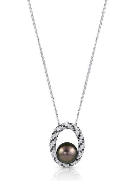 18K Tahitian Cultured Pearl 'Twist' Pendant With Diamonds