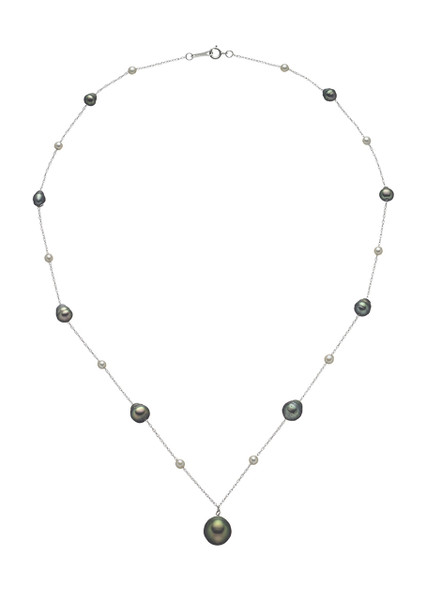 14K Cultured Pearl And Chain Drop Necklace