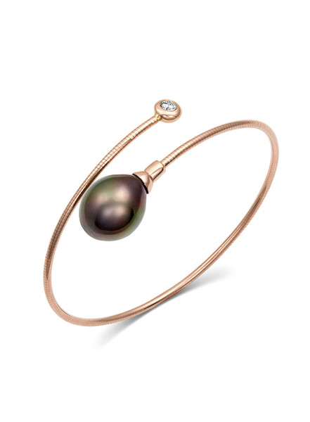 18K Diamond And Tahitian South Sea Cultured Pearl Bangle