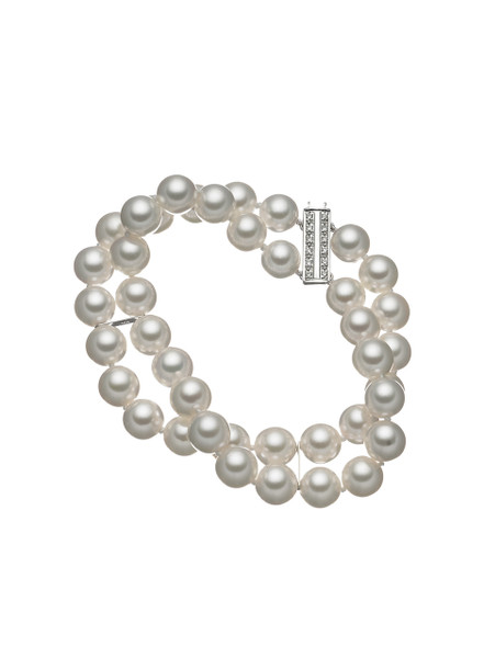 18K Double Row Akoya Cultured Pearl Bracelet With Diamond Clasp
