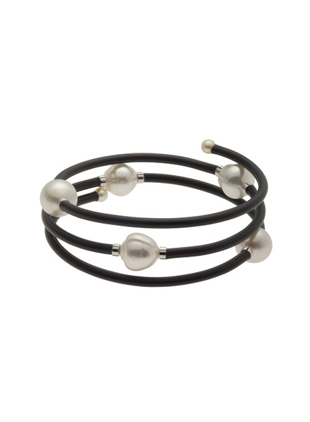Multi-Row White South Sea Cultured Pearl Bracelet