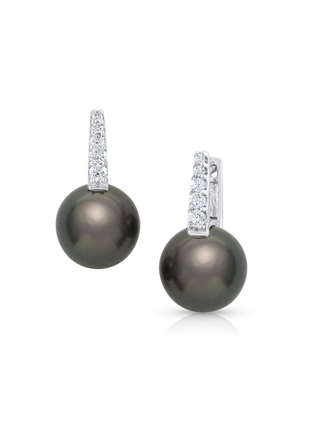 18K Tahitian Cultured Pearl And Diamond Huggies